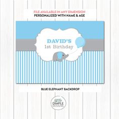 Blue Baby Elephant Theme Digital Backdrop / Banner by Little Dimple Designs