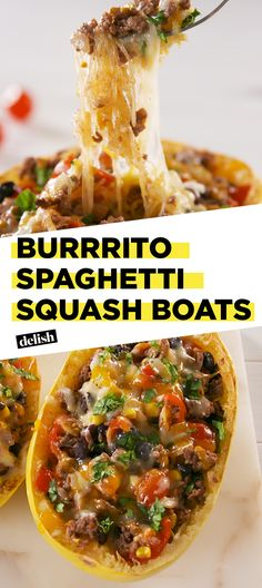 You'll have ZERO guilt eating these Burrito Spaghetti Squash Boats. Get the recipe at Delish.com. #recipe #easy #easyrecipe #lowcarb #lowcarbdiet #cheese #taco #spaghetti #squash #groundbeef #dinner #easydinner #dinnerrecipes #tacotuesday #burritos #corn #beans #tomatoes