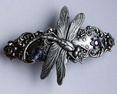 Silver Gothic hair clip Dragonfly filigree victorian steampunk fantasy hair accessory. $17.00, via Etsy.