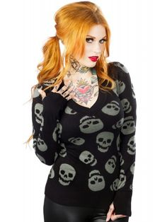 Sourpuss Lust For Skulls Sweater Gray $39 rebel circus