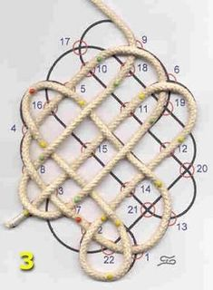 Discover thousands of images about elliptische mat © theo slijkerman Macrame Wall Hanging Patterns, Macrame Patterns, Knots Guide, Rope Rug, Rope Crafts, Macrame Design, Macrame Tutorial, Celtic Designs, Macrame Knots