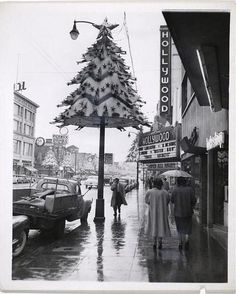 Christmas in Hollywood, vintage Los Angeles photo - Hollywood Boulevard