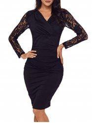 Surplice Neck Lace Panel Ruched Bodycon Dress - BLACK