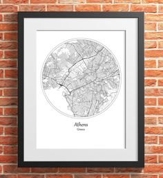 Athens Round City Map Print Digital Download, Greece, Street Map Art,map print, map poster,print map art travel, City Map Wall Art Map Wall Art, Map Art, Print Map, Poster Prints, Barcelona City Map, Printing Services, Online Printing, England Map, Bristol City