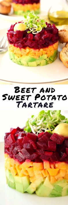 Beet and sweet potato tartare is such a simple dish but makes a colourful and attractive vegan appetizer. The recipe makes the most of seasonal vegetables and lets them shine with just a simple dressing of olive oil and lemon juice. This vegan tartare rec No Cook Appetizers, Appetizer Dishes, Vegan Appetizers, Food Dishes, Appetizer Recipes, Delicious Appetizers, Dishes Recipes, Avacado Appetizers, Halloween Appetizers
