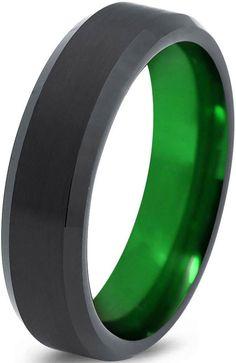 arcadia wedding band. tungsten wedding band ring 6mm for men women green black beveled edge brushed polished size 8.5 arcadia