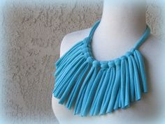 Turquoise Blue Bib Fringed Cotton Jersey Tee Shirt by sandeeknits, $9.99