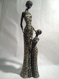 African Woman and Child Statue - Kenyan Tribal Art Doll Figurine Sculpture Home Decoration