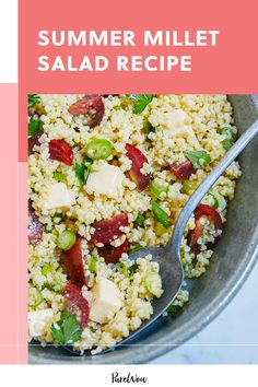 Millet is a gluten-free grain that cooks quickly due to its small size. It's the star in this recipe for summer millet salad. #salad #recipes #summer Gluten Free Grains, Gluten Free Recipes, Healthy Salad Recipes, Vegetarian Recipes, Mediterranean Couscous, Grain Salad, Happy Vegan, Recipe Please, 500 Calories