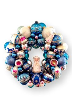 Medium Vintage Christmas Ornament Holiday Wreath   Frosted Blue, White, & Pink - HEATHERTIQUE  - 1