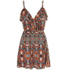 Mela Loves London Moroccan Tribal Printed Dress ($27) ❤ liked on Polyvore featuring dresses, vestidos, clearance, vneck dress, v neck fit and flare dress, v neck dress, flutter dress and sleeveless v neck dress