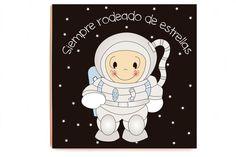 Cuadro Astronauta impreso sobre madera de alta calidad sin marco y sin cristal. Medidas: 40 x 40 x 2,3 cm. Idiomas texto: castellano, catalán e inglés.