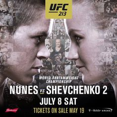 Current women's bantamweight champ Amanda Nunes Leoa will meet the #1 ranked Valentina Shevchenko in the Octagon for the second time on July 8 at #UFC213 | Will Nunes defend her title AGAIN or will Shevchenko get her revenge?