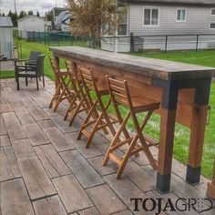 The second customer project sent in by A live edge slab bar tab. The second customer project sent in by A live edge slab bar table, that makes an incredible statement in the back yard! Outdoor Bar Table, Outdoor Decor, Outdoor Bars, Pub Table Sets, Bar Tables, Wood Bar Table, Deck Bar, Wood Post, Pergola Kits