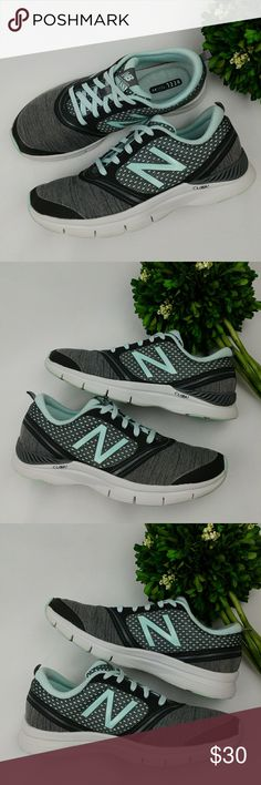 New Balance 711 womens athletic shoes New Balance 711 womens athletic shoes Light blue/mint color, black, grey and white. Heel pillow In good condition  Have been washed and sanitized. There are some scuffs and some stains that can probably come out with a special spot  remover and a small hole (pictured) Size 8.5 25.5 cm New Balance Shoes Athletic Shoes