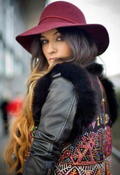 lovely hat fancy beaded vest over leather.