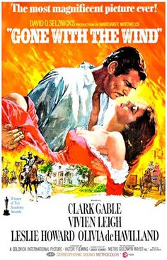 Gone With the Wind starring Clark Gable, Vivien Leigh, Olivia de Havilland, and Thomas Mitchell; directed by George Cukor and Victor Fleming Rhett Butler, Scarlett O'hara, Margaret Mitchell, Vivien Leigh, Clark Gable, Old Movies, Vintage Movies, Great Movies, Vintage Posters