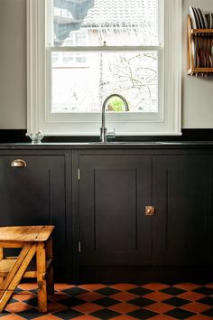 Alexis Hamilton Photography's shoot for British Standard Cupboards Featured in Beautiful Kitchens Magazine February Stunning Black Kitchen Design with Honed Black Granite Worktops and Georgian Brass Handles Kitchen Cabinet Hardware, Kitchen Doors, Kitchen Units, Wooden Kitchen, Kitchen Cupboards, Home Decor Kitchen, Kitchen Interior, Modern Interior, Kitchen Design