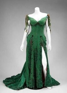 Green gothic dress......love the style but in white for bridal gown or wedding colors for bridesmaids.