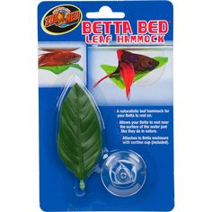 """Zoo+Med+Betta+Bed+Leaf+Hammock+-+3.5""""+L+X+1.5""""+W,+A+naturalistic+leaf+hammock+for+your+betta+to+rest+on.+Allows+your+betta+to+rest+near+the+surface+of+the+water+just+like+they+do+in+nature.+Attaches+to+betta+enclosure+with+suction+cup+(included). - http://www.petco.com/shop/en/petcostore/product/zoo-med-betta-bed-leaf-hammock"""