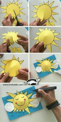 Preschool Sun Art Event – Bastelkarten - DIY and crafts Preschool Crafts, Kids Crafts, Arts And Crafts, Sun Crafts, Summer Diy, Summer Crafts, Diy Crafts Easy At Home, Diy Niños Manualidades, Preschool Activities