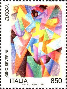 """1993 - """"Europa Unita """": Pittori contemporanei - dipinto """"Dinamismo delle forme colorate"""" di Gino Severini (1883-1966)"""