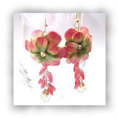 Polymer Clay Flower and Crystal Dangle by CreativeTreasuresUK, £12.00