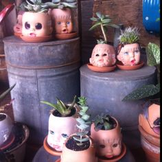 Hilarious!  Creepy cool baby doll head succulent planters at Salvage Works in Portland. Love them!