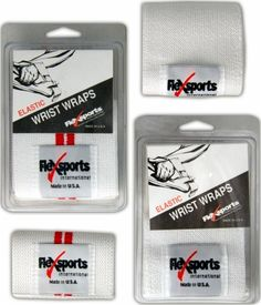 Click Image Above To Purchase: Flexsports Elastic Wrist Wraps - Heavy - White/red