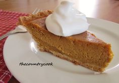 The Country Cook: Brown Sugar Pumpkin Pie