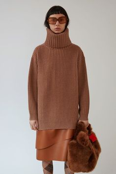 Acne Studios Disa Oversized Roll-neck Wool Sweater In Camel Ideas Bazar, Checked Trousers Mens, Acne Studios, Wool Sweaters, Pullover Sweaters, Cardigans, Acne Coat, Stockholm Street Style, Paris Street