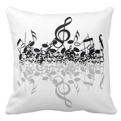 Nothin' But Treble Black Music Notes Pillow