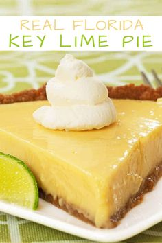 Real Florida Key Lime Pie Made with sweetened condensed milk, egg yolks and fresh-squeezed lime juice, key lime pie is a tart and creamy custard pie baked in an easy-to-make graham cracker crust. Key Lime Desserts, Plated Desserts, Lime Recipes, Sweet Recipes, Florida Key Lime Pie Recipe, Eagle Brand Key Lime Pie Recipe, Pie Dessert, Dessert Recipes, Pudding Desserts