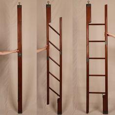 Fine English Regency Antique Mahogany & Brass Folding Nautical or Library Ladder-idea