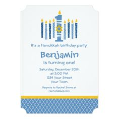 Hanukkah 1st Birthday 5x7 Paper Invitation Card Cute personalized design for baby's 1st Hanukkah and birthday with nine blue candles that look like a menorah. Big number 1 with Star of David and customizable text. PinkInkArt original!...read more
