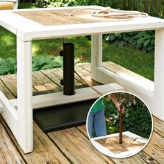 Get Even More Use Out Of Your Outdoor Side Table By Sliding An Umbrella Stand Into The Center