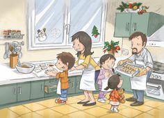Familien på kjøkkenet