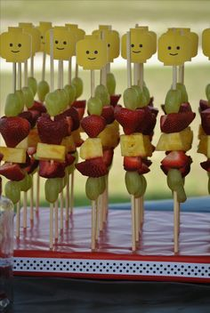Lego party fruit skewers!!! ---Isn't that a cute idea??!!??   :0)