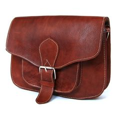 Image of Medium Tan Leather Square Saddle Bag