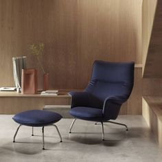 The Doze Lounge Chair and Ottoman reflects a '70s-inspired Scandinavian flair. Generously proportioned, Doze offers deeply cushioned lounge seating. #AplusR #moderndesign #Interiordesign #modernchair #modernottoman #loungechair #modernseating #readingchair #libraryideas #homeoffice #seatingarea