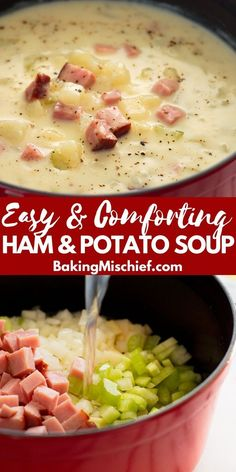 This healthy ham and potato soup is pure comfort food in a bowl. Easy, fast, and low-calorie, it's one of my favorite busy weeknight meals. Ham And Potato Soup, Creamy Potato Soup, Ham Soup, Potato Soup Recipes, Ham And Bean Soup, Healthy Soup Recipes, Crockpot Recipes, Cooking Recipes, Recipes With Ham