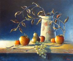 """Original oil painting - 24"""" x 20"""" Enamel Jug and Fruit, An oil painting by Irish still life artist Chris Quinlan. An oil painting on linen board, jug, some branches and fruit, completed Jan 2018."""