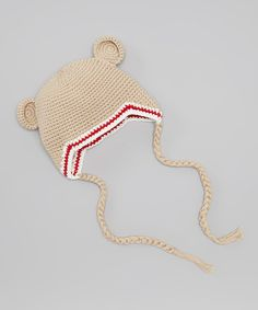 Take a look at this Melondipity Tan & Red Sugar Bear Earflap Beanie on zulily today!