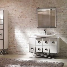 painted brick, wash, not completely white – Modelli di Camino Modern Vanity, Modern Bathroom, Brick Room, Brick Walls, White Lace Curtains, Red Brick Fireplaces, Brick Interior, Interior Design, White Wash Brick