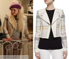 Chanel (Abigail Breslin) wears this pink printed jacket in this week's episode of Scream Queens. It is the BCBG Cody Embroidered Jacket. Scream Queens Season 1, Scream Queens Fashion, Best New Shows, Red Leather Skirt, Pink Bodycon Dresses, Queen Outfit, Chanel No 5, Houndstooth Skirt, Print Jacket