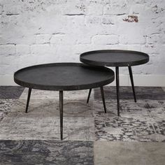 Industrial Coffee table Austin (set of 2) - Furnwise Round Coffee Table Modern, Coffe Table, Large Table, Small Tables, Mid Century Living Room, Table Height, Kitchen Decor, Interior, Furniture