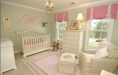the colors i want.. pink and sage with white furniture and lettering on walls