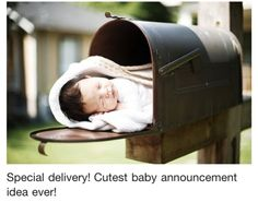 "I am so going to do a maternity timeline for my baby sisters friend.  Show her checking the mail with a growing baby bump and in the last picture the baby in the mailbox with a tag ""Special Delivery""!  I can't wait to see how it turns out."