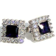 Bling Z Sterling Silver Sapphire and Russian Ice CZ Stud Earrings - Trustmark Jewelers