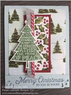 Stampin' Up! Peaceful Pines, Six Sayings Host set, Corner Trio Punch.  Christmas Card. Some Semblance of Stamping.